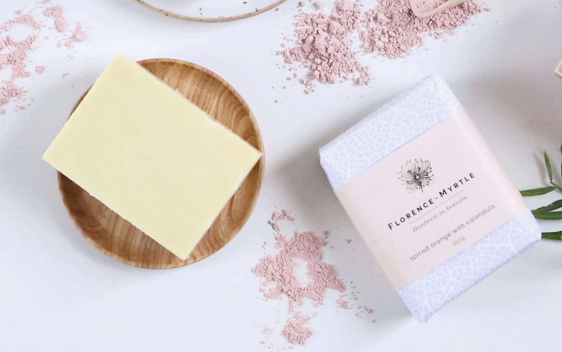 Florence + Myrtle Organic Shea Butter Soap Lemongrass Salt Bar